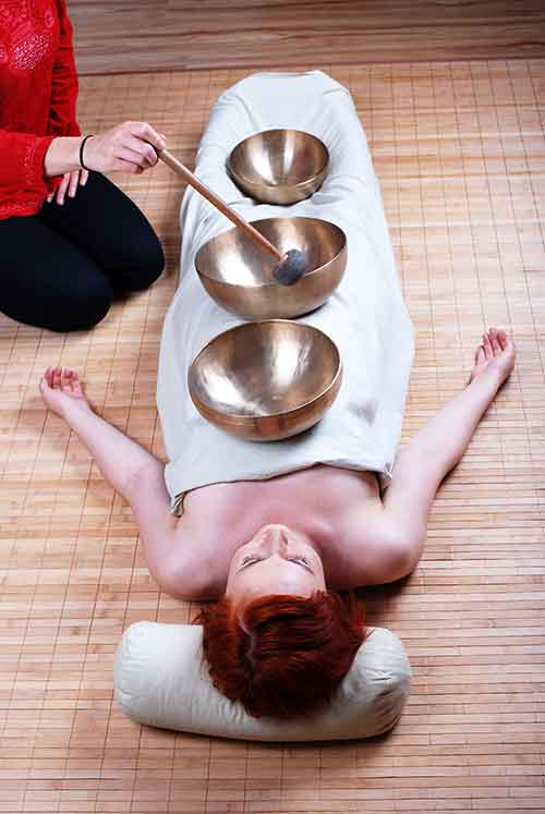 Client session using the Tibetan bowls